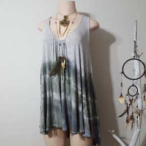 FREE PEOPLE COLORFUL DIED FLOWY SWOOPING TOP!